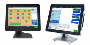 POS system shows table layout and payment screen